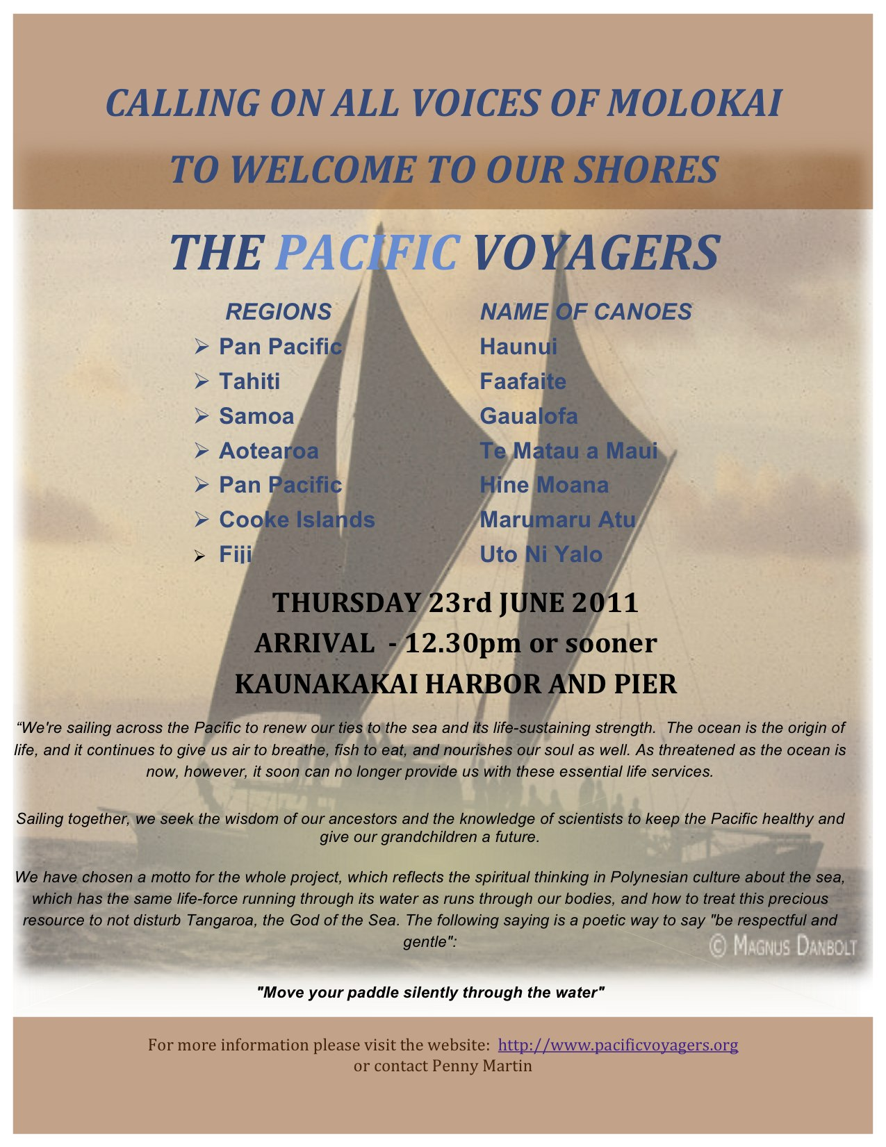 Molokai welcomes the Pacific Voyagers tomorrow