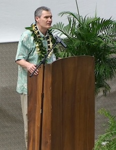 "State of Hawaii Board of Education chair, Donald G. Horner, congratulates Molokai Middle School for winning the ""Most Improved School in Hawaii."""