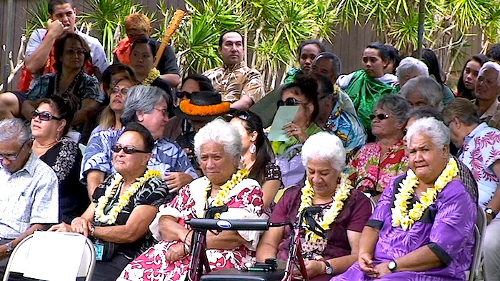 Kupuna who lobbied the State of Hawaii Board of Education to separate the intermediate grades from the high school eight years ago attend Thursday's ceremony at Molokai Middle School.