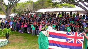 "Students celebrate winning the ""Most Improved School in Hawaii."""
