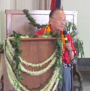Sen. Daniel Inouye makes remarks for the opening of Paschoal Hall in Kalaupapa on Oct. 29. It was his last visit to Molokai.