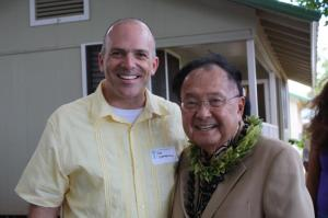 Rob Stephenson, president of the Molokai Chamber of Commerce, with Sen. Daniei Inouye in August of 2010 when the Senator came to Molokai for the groundbreaking of the Molokai Community Health Center. Photo courtesy of Rob Stephenson