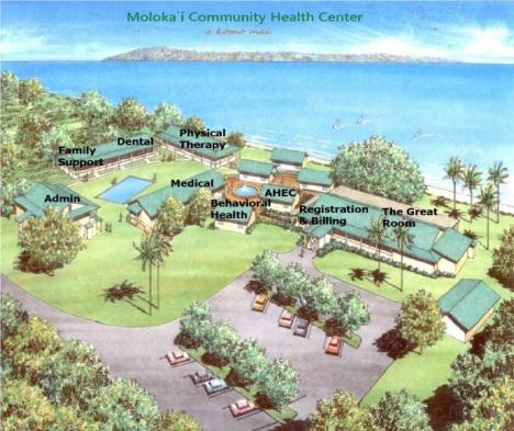This artist rendering show what the completed MCHC campus will look like. MCHC now offers medical, dental, behavioral health care, and social services to the people of Molokai regardless of their ability to pay.