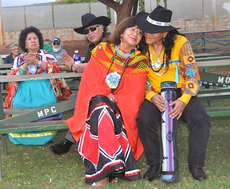 Quechan Tribal members at the Mitchell Pau'ole Center on Friday, from left, Lucinda Polk, Vernon Smith, Lucia Polk and Allen Paquin, a Navajo Tribal member. These tribal members told the story of how they have fought Big Wind projects in the deserts of Southern California.